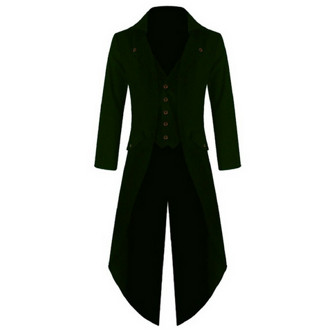 Green Punk Retro Long Tail Trench Coat