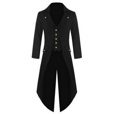 Black Punk Retro Long Tail Trench Coat