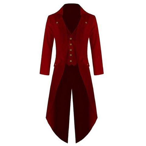 Red Punk Retro Long Tail Trench Coat
