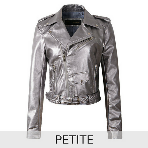 PETITE Ultimate Leather Look Biker Jacket in Grey