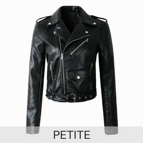 PETITE Ultimate Leather Look Biker Jacket in Black
