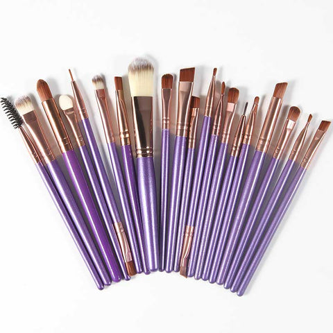 Professional Cosmetic Makeup Brush Kit - Purple & Rust