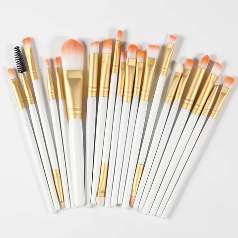 Professional Cosmetic Makeup Brush Kit - White & Gold