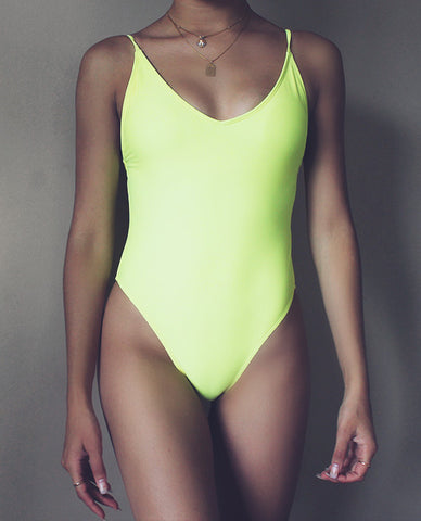 Super High Leg Swimsuit in Yellow @goldmoods