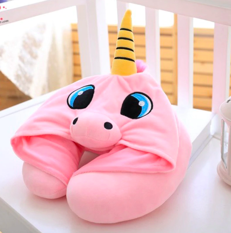 Hooded Unicorn Travel Pillow in Blue