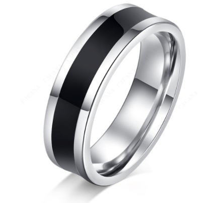 Satin Finish Wedding Ring in Black Titanium and Stainless Steal