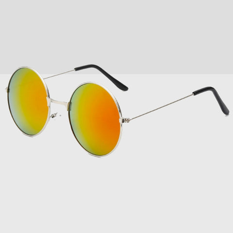 Metal 90s Round Sunglasses With Orange Colored Lens & Silver Frame
