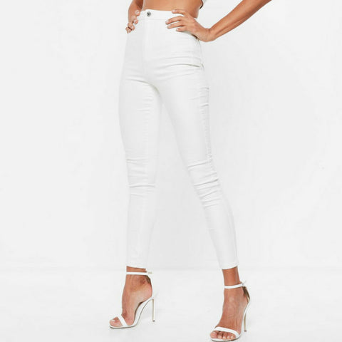 LINDER High Waisted Skinny Jeans in White