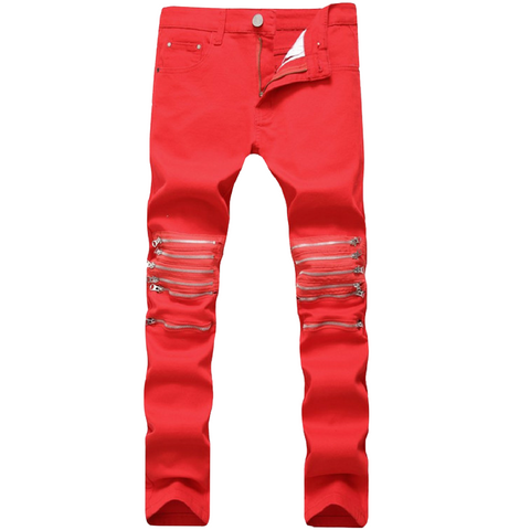 LINDER Red Zippers Men Jeans