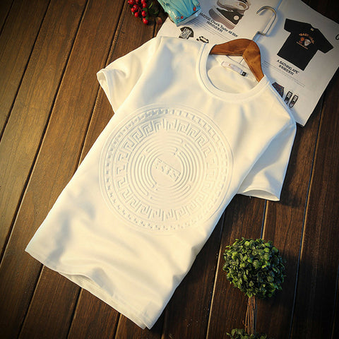 Men Sport Embossed Print T-shirt in White