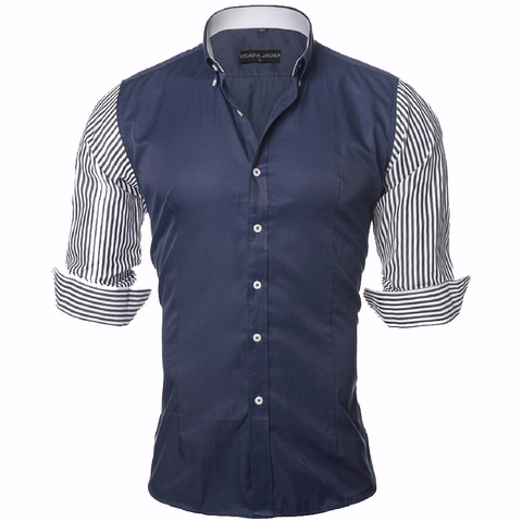 Men's Pinstripe Sleeve Shirt-Navy