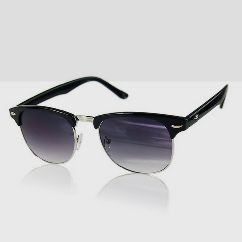 Polarized Classic Retro Sunglasses in Black with Silver Trimming