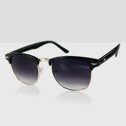 Polarized Classic Retro Sunglasses in Black with Gold Trimming