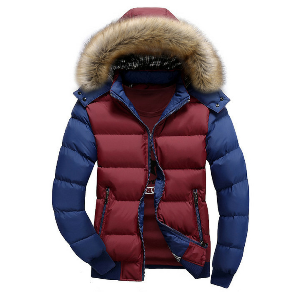 Patchwork Winter Jacket-Red