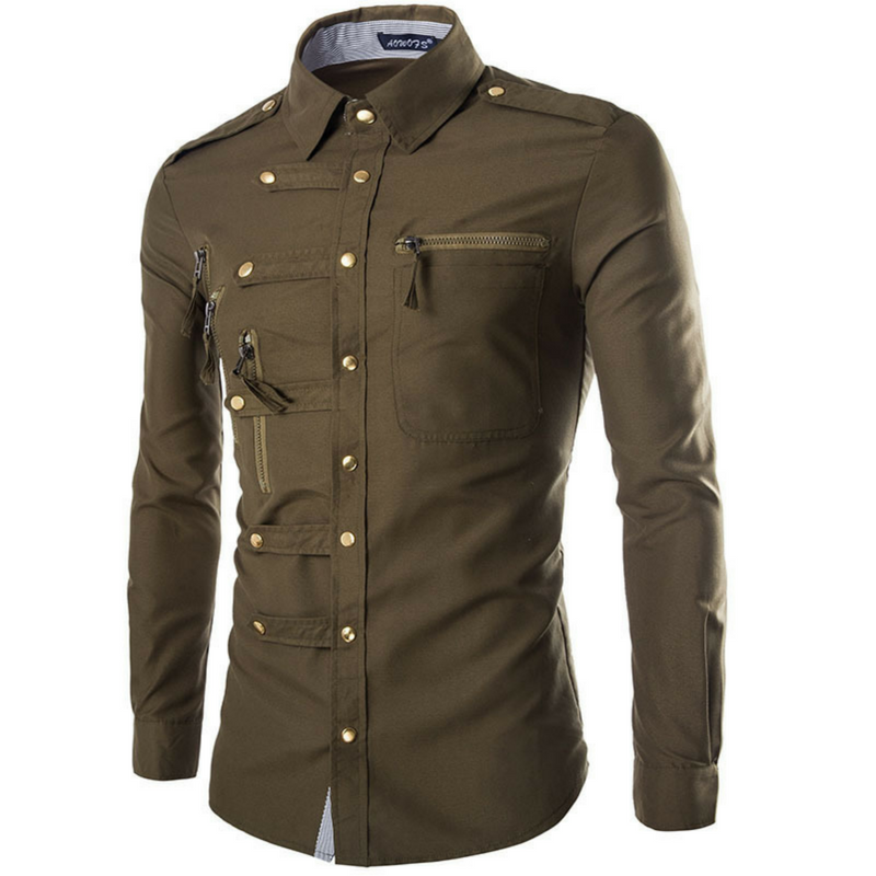 Army Green Judgement Day Dress Shirt
