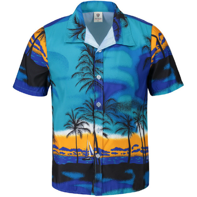 Revere Collar Palm Print Shirt in Blue