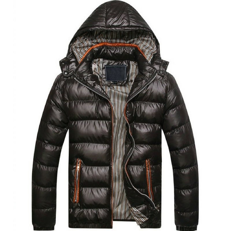 Men's Down Puffer Jacket in Black
