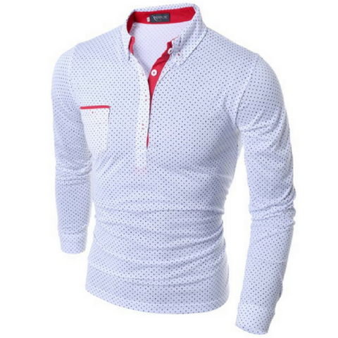 LINDER Dotted Long Sleeve Shirt- White