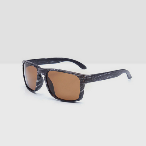 Linder Wooden Gray Textured Sunglasses - Brown