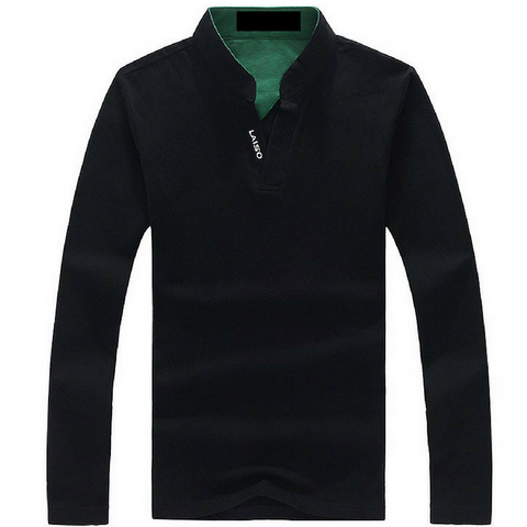 Long Sleeve Slim Cotton T-Shirt with Mandarin Collar - Black