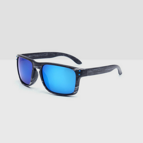 Linder Wooden Gray Textured Sunglasses - Blue