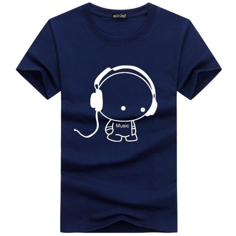 Print T-shirt Headset On in Navy