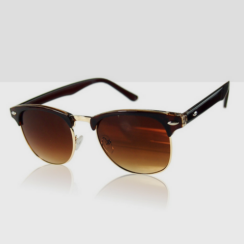 Polarized Classic Retro Sunglasses in Black with Gold Trimming & Brown Lens