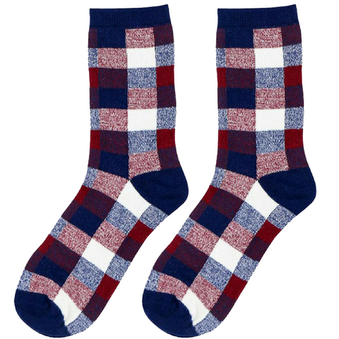 4 Pairs Plaid Bloobell Socks-Red