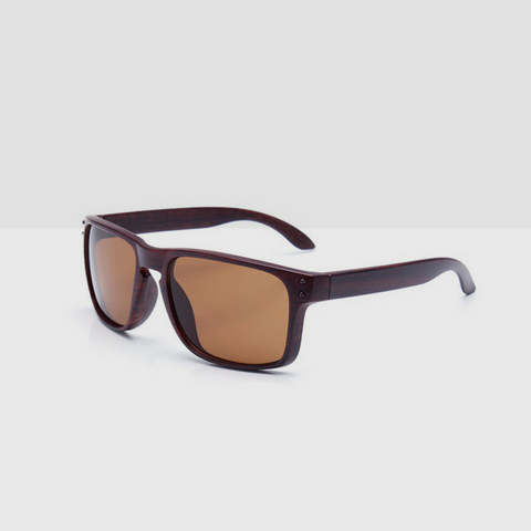 Linder Wooden Coffee Textured Sunglasses - Brown