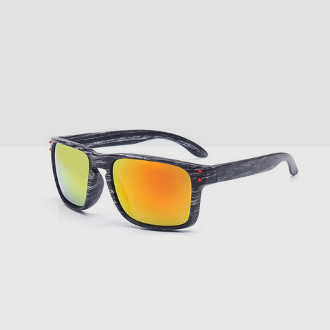 Wooden Gray Textured Sunglasses - Red