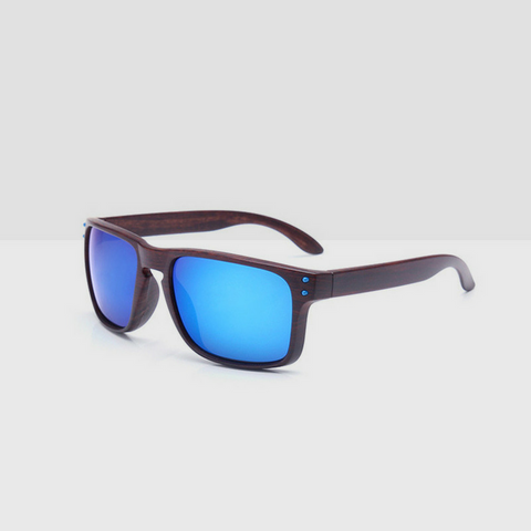 Linder Wooden Coffee Textured Sunglasses - Blue