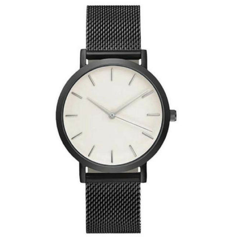 Linder Vintage Inspired Mesh Strap Women Watch in Black White