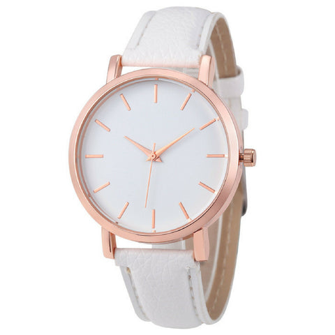LINDER DESIGN Metro Leather Watch in White