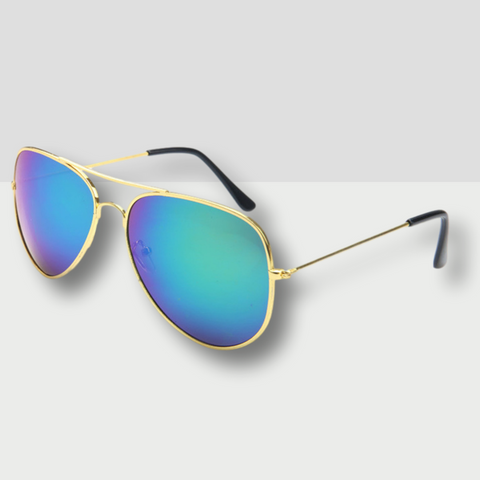 Polarised Aviator Sunglasses in Aqua Gold