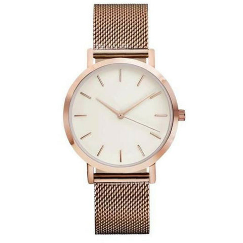 Linder Vintage Inspired Mesh Strap Women Watch in Rose Gold