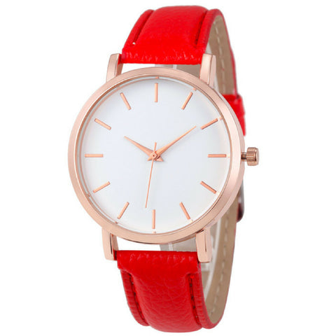 LINDER DESIGN Metro Leather Watch in Red