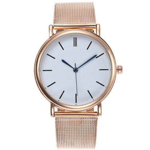 Linder Classic Inspired Mesh Strap Women Watch in Rose Gold