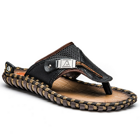 Men's Genuine Leather Flip Flop Sandals