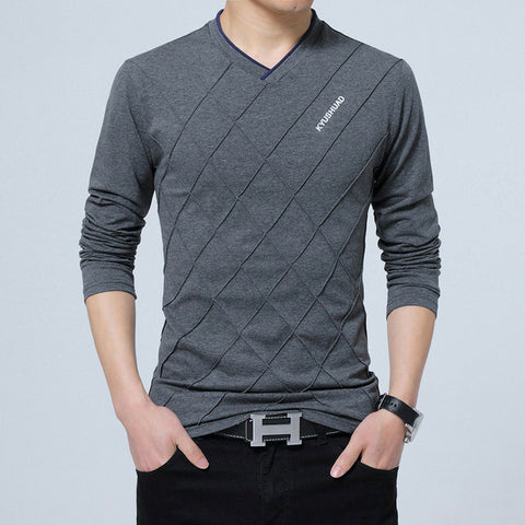 Long Sleeve Crosses Crease T-shirt in Grey