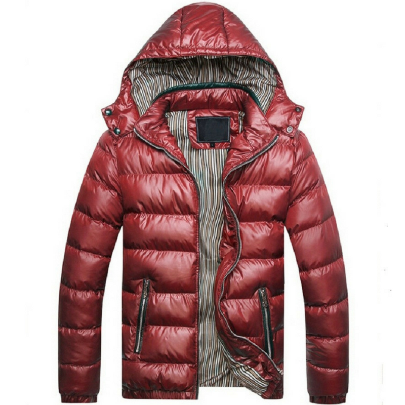 Men's Down Puffer Jacket in Red