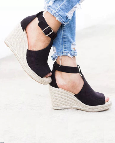 Linder Strap Heeled Wedges in Black