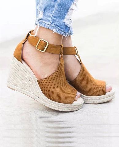 Linder Strap Heeled Wedges in Brown