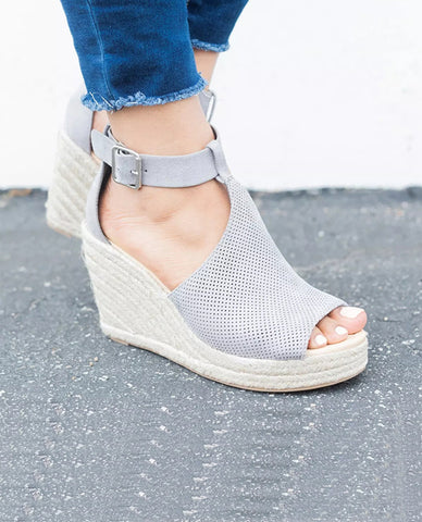 Linder Strap Heeled Wedges in Grey