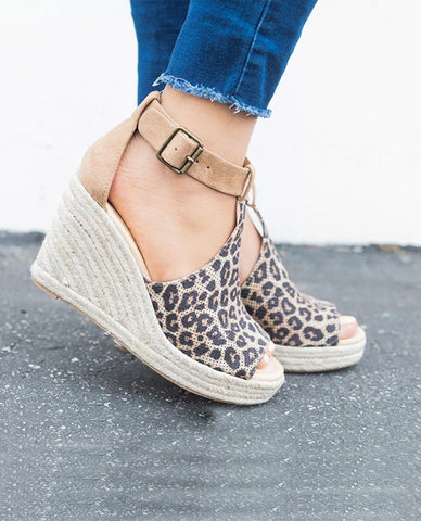 Linder Strap Heeled Wedges in Leopard