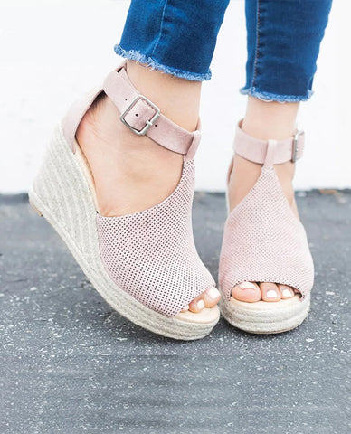 Linder Strap Heeled Wedges in Pink