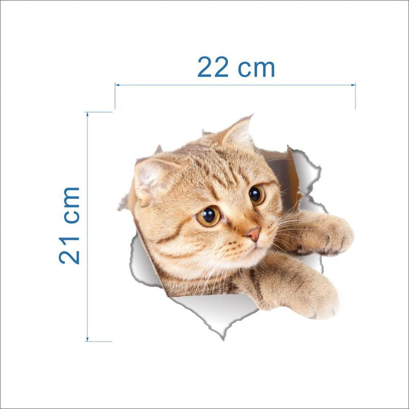 3D Cat Toilet And Bathroom PVC Sticker - STYLE G