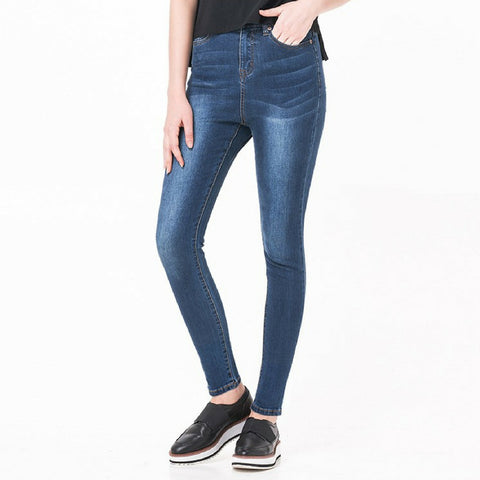 High Waisted Premium Jeans in Wash Dark Blue