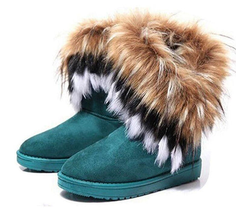 Snow Boots With Artificial Fur in Green