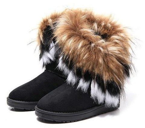 Snow Boots With Artificial Fur in Black