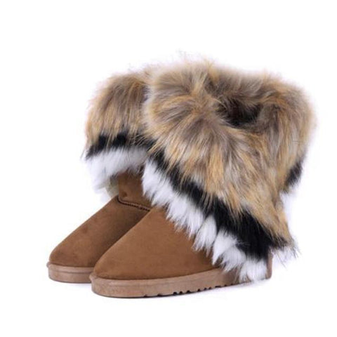 Snow Boots With Artificial Fur in Brown